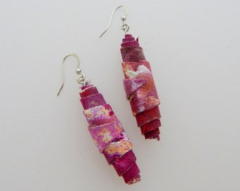 Peony Earrings - Handpainted Textile - One of a kind - Featured in Jewelry Affaire Magazine
