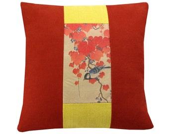 Bird cushion cover, Oriental cushion, terracotta & yellow cushion, handprinted cushion, Bird pillow 43x43 cm
