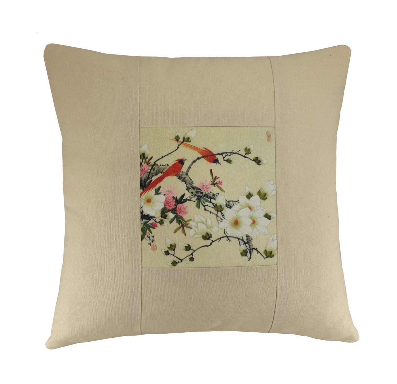 Oriental Design Throw Pillows : Oriental bird pillow Chinese design pillow Cream pillow