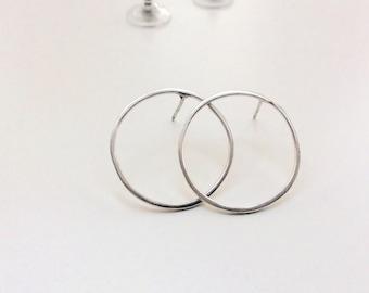 Sterling Silver Hoop Studs, 2cm Diameter, Circle of Life or Karma Stud Earrings, Stamped 925, Ready to Ship