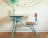SOLD OUT - School desk, desk, schoolboy desk, mid century modern, 1 seat, wood and metal, blue color, hand-painted, model Félix