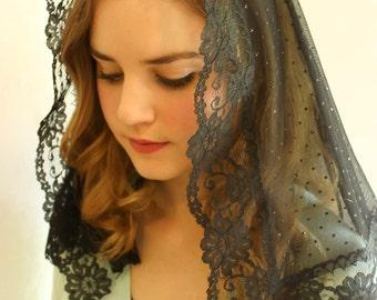 Evintage Veils~ Black/Spanish Lace  Vintage Inspired  Mantilla Chapel Veil Classic D Shape