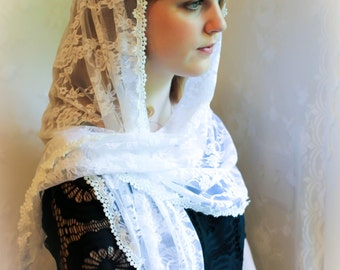 Evintage Veils~ Petal White Floral  Vintage Inspired Lace Chapel Veil Scarf Mantilla Shawl