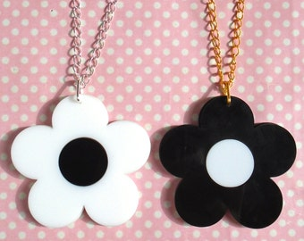 Flower power black and white double layered laser cut necklace