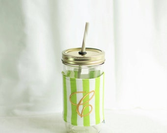 Personalized Lime Green and White Mason Jar Tumbler, Striped Monogram, Personalized Tumbler, Green and White Stripes