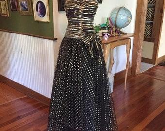 Disco Goth Metallic Tulle Gown
