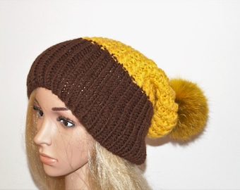 Brown Hat,Yellow Hat,Winter Hat,Woman Hat , Natural Fur Pom Pom,Hand Knitted Hat,Handmade Cap,Natural Fur,Knitted Cap,Handmade Hat