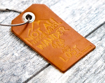 Leather Luggage Tags | Not All Who Wander Are Lost | JRR Tolkien quote | Travel Gift