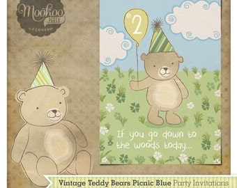 Teddy Bear Picnic Blue Printable Party Invitations
