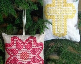 """SALE Pattern """"Poinsettia/Cross Ornaments"""" Swedish Weave Designs by Katherine Kennedy Hand Embroidery Huck Embroidery Two Christmas Ornaments"""