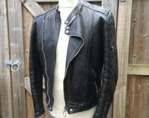 1970's French Leather Motorcycle Jacket - CUIRS - Easy Rider - James Dean - Cafe Racer - Biker - S/M