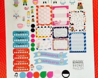 Alice Wonderland Weekly Planner Stickers Set, for use with Erin Condren Life Planner, Happy Planner