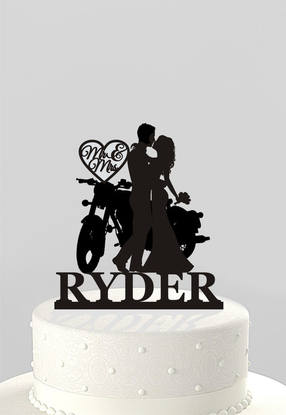 Wedding Cake Topper Silhouette Couple On Motorcycle Mr Amp Mrs