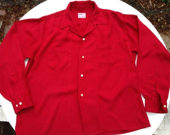 1950's Rayon GABARDINE Shirt in Bright RED with Patch Pockets & Long Sleeves / Men's LARGE