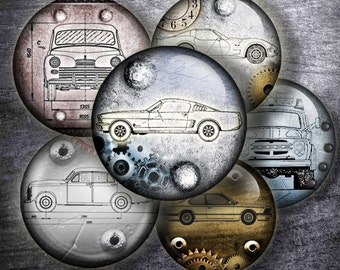 """Steampunk Cars Drawings and old letters Digital bottle cap images  1'' circles, 25mm, 30mm, 1.25"""", 1.5"""" for Jewelry Making, BUY 2 GET 1 FREE"""
