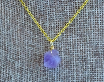 Wire Wrapped Raw Amethyst Brass Necklace