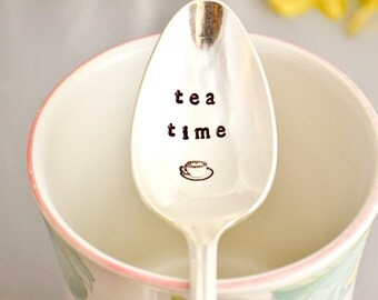 tea time teaspoon, Hand stamped spoon, vintage by samirahcollections