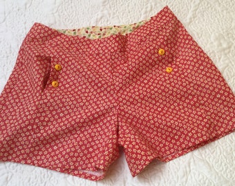 Red & Yellow Cotton Shorts