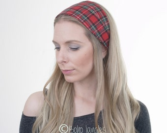 Red Tartan Hair Wrap, Plaid Cotton Headband, Wide Hairband, Boho Turban, Fashion Headband, Vintage, Hair Tie, Yoga