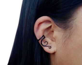 Black Ear Cuff, Cartilage Earring, Simple Wire Earcuff