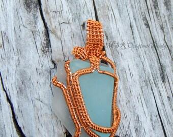 Sea glass pendant, aqua blue sea glass, genuine sea glass wire wrap necklace, sea glass necklace, artisan pendant, reversible pendant