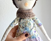 Handmade doll set, rag dol+wardrobe, unique gift, made in France / Clementine