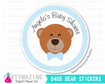 "Teddy Bear Stickers, Printable 2"" Party Circle, Thank you Stickes, Baby shower Personalized Stickers, Baby Shower, D405"