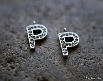 Letter P- Unique Initial Alphabet Letters, Silver Plated with Zirconia - INTS-P