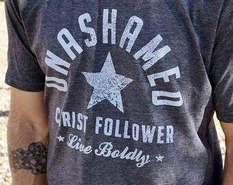 Christian Shirt for Men // Unashamed Christ Follower // Christian Shirts Men // Ultra-Soft Poly Cotton Charcoal Gray