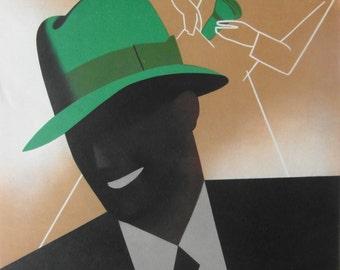 Original 1930s Art Deco Small Format Italian Advertising Poster for Bantam Hats