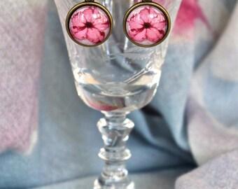 Pink Petunia Flower Floral Earrings Antique Brass Finish Pierced Ear Dangle Earrings