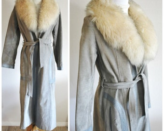Vintage 60's 70's Hippie Boho CALIFORNIA JET-SET Gray Belted Leather Trench Coat Sheepskin Shearling Collar