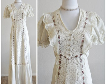 Vintage 70's Crochet Lace & Gauze Flower Child Maxi Dress Jody T of California Boho Amazing Gunne Sax Style