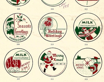 Vintage retro Art Deco Christmas holiday new year milk cap collage digital download printable instant image