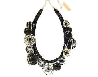Statement Fabric Necklace Black White Necklace Textile Necklace Statement Jewelry Fabric Jewelry