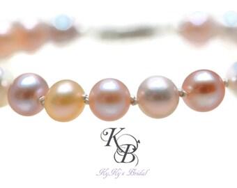 Multicolor Pearl Bracelet, Pink Pearl Bracelet, Genuine Pearl Bracelet, Pearl Bridal Bracelet, Pearl Wedding Jewelry, Real Pearl Bracelet