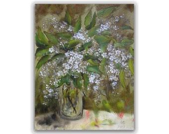 Bird cherry blossom Original painting oil Floral Canvas Art Bird cherry tree Flowers 10х12 Wall hanging Home decor