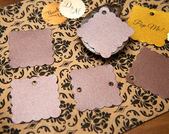"Bronze Brown Pearlised 1.5"" Square Luxury Gift Tags, Blank Tags, Wishing Tree, Wedding favour tags, Jewellery Tags, wedding favors 1.5 inch"