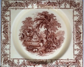 """The Biarritz - Royal Staffordshire Great Britain 'Rural Scenes' A. J. Wilkinson 9 x 7 1/2"""" Brown Transfer Ware Rectangle Plates SET OF 3"""
