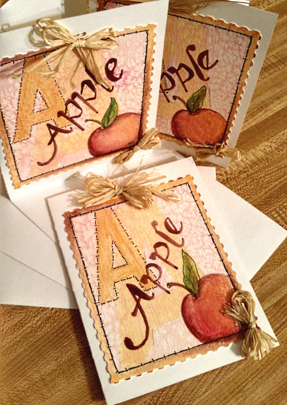 Country apple greeting card hand painted original watercolor red yellow rustic orange brown teacher gift hostess gift everyday notes letters