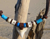 Handmade  3 different Leather Necklace Surfer Shark Tooth Necklace Chain Shark Teeth Pendant Unisex Wakeboarding
