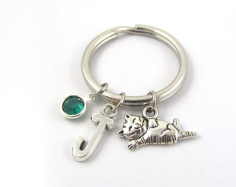 Cat Keychain- choose a birthstone and initial, Cat Keyring, Cat Gift, Kitty Keychain, Initial Keychain, Birthstone Keychain, Animal Keychain