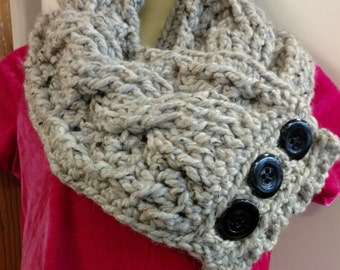 Handmade Crochet Wool Blend Wide Fisherman's Cable Scarf with Buttons Neck Warmer