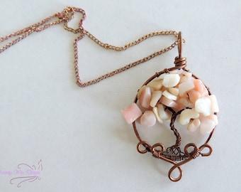 Pink Peruvian Opal Oxidized Tree of Life Pendant