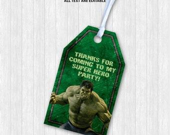 Hulk Favor Tags