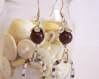 Dangle earrings, Drop earrings, Gemstone earrings, Jasper earrings, Purple earrings, Silver earrings, Hoop earrings, Boho earrings.