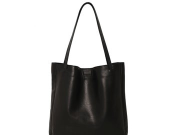 Minimal Black Leather Tote, Genuine Leather Tote Bag