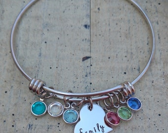 Hand stamped charm Custom Family bangle Bracelet with Swarovski Crystal birthstones gift for Grandma Mother Nana Mom Personalized Jewelry