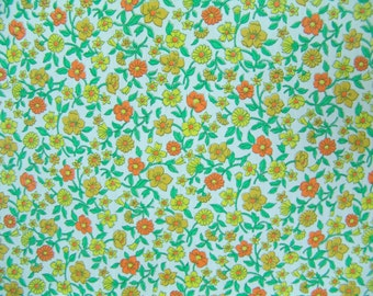Calico Fabric vintage remnant Yellow flowers quilting doll clothes