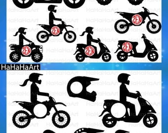 Circle Motorcycles and ATV Monogram - Cutting Files Svg Png Jpg Eps Dxf Digital Graphic Design Instant Download Commercial Use (00673c)